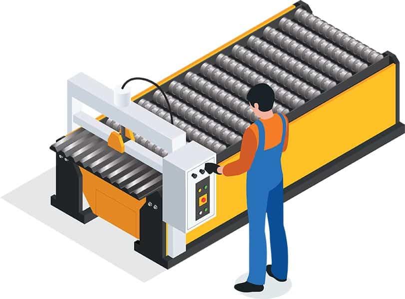 Werker an Maschine ohne Sensoren und Maschinendatenerfassung