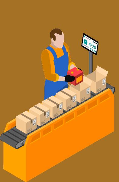 Werker an Verpackungsband mit Tablet und Scanner zur Erfassung einer Track and Trace Meldung