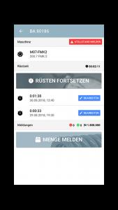 Betriebsauftrag Detailansicht in der App zur mobilen Betriebsdatenerfassung
